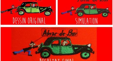 Les différentes étapes de personnalisation d'une broderie à partir d'un dessin.